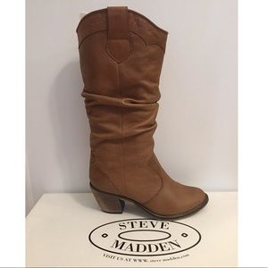 Steve Madden brown leather slouchy boots size 8.5.